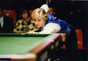 Allison Fisher Playing Snooker